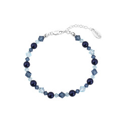 Bracelet pearls crystal blue - sterling silver - 1738