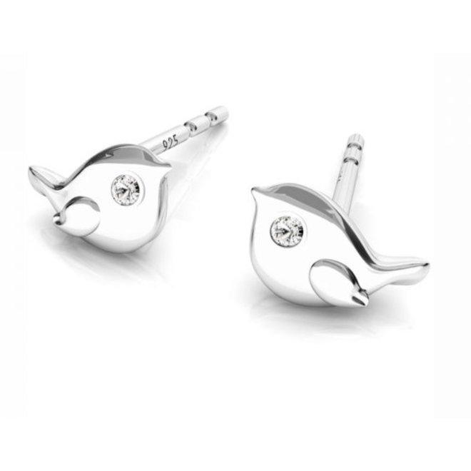 Earrings bird ear studs - sterling silver - 1750