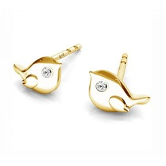 Earrings bird ear studs - 925 silver gold plated- 1751