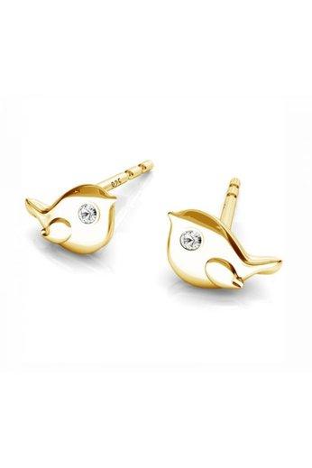 Earrings bird ear studs - sterling silver gold plated - ARLIZI 1751 - Zoe