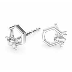 Earrings bee ear studs - sterling silver - 1752
