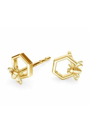 Earrings bee ear studs - sterling silver gold plated - ARLIZI 1753 - Zoe