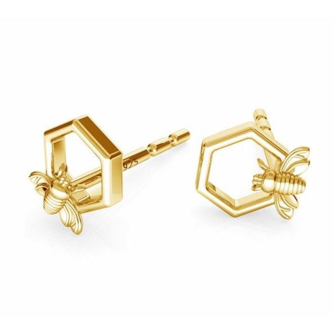 Earrings bee ear studs - 925 silver gold plated - 1753