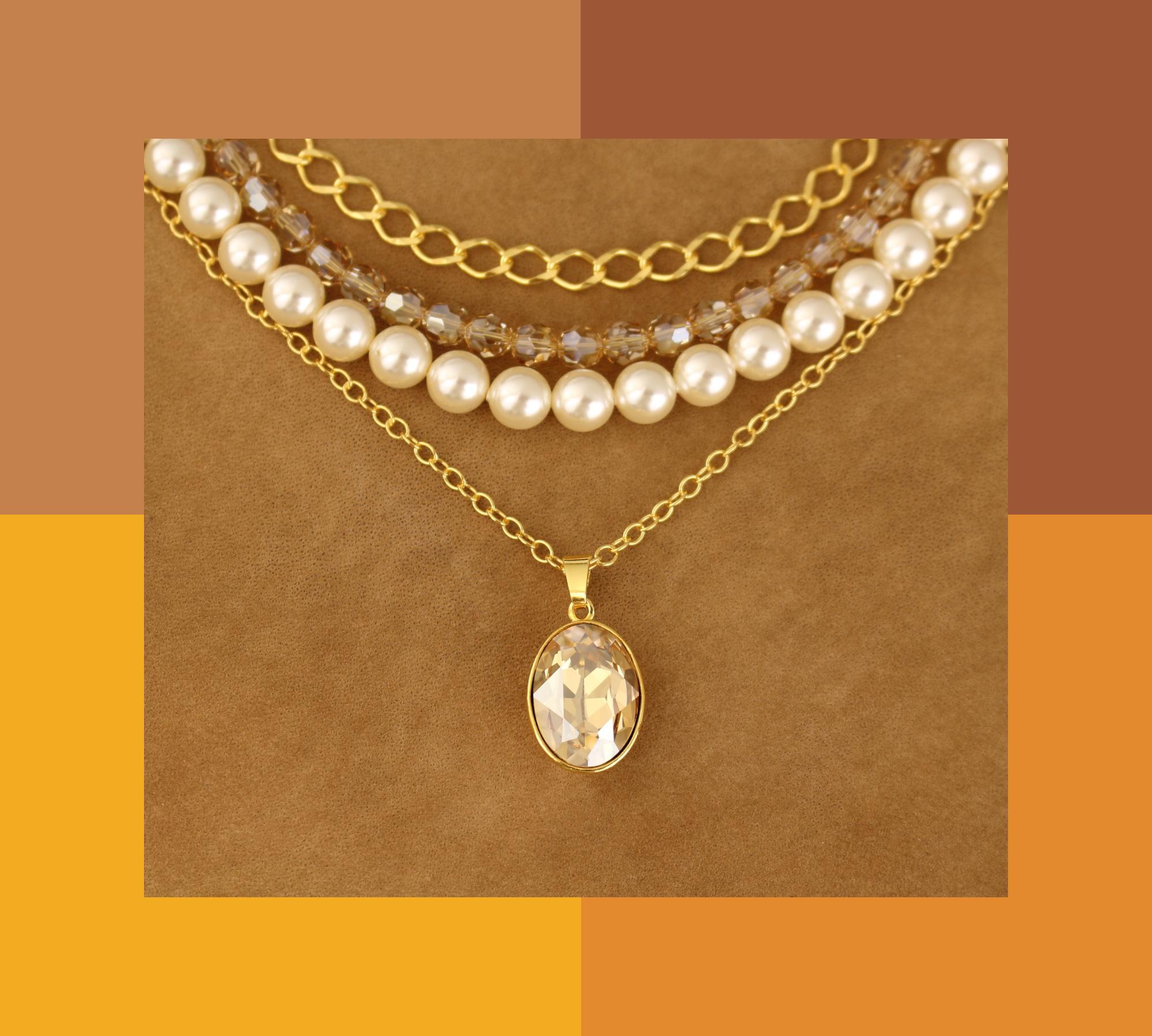 ARLIZI Schmuck Halskette Perle Kristall Gold
