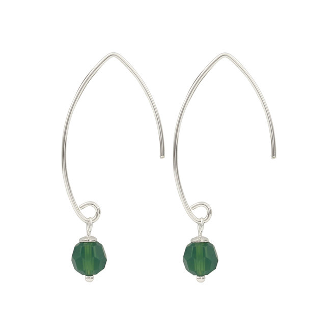 Earrings Swarovski crystal green - 925 silver - 1754