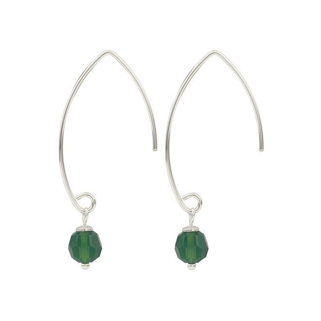 Oorbellen Swarovski kristal groen - 925 zilver - 1754