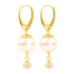 Earrings cream pearl pendant - silver gold plated - 1756
