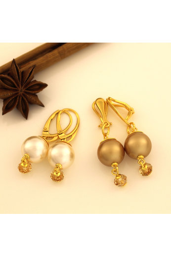 Clip earrings cream pearl Swarovski crystal gold-coloured - gold plated sterling silver - ARLIZI 1757 - Claire