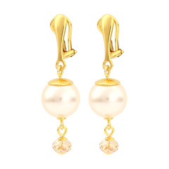 Earrings cream pearl ear clips - silver gold plated - 1757
