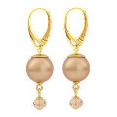 Earrings pearl pendant- silver gold plated - 1759