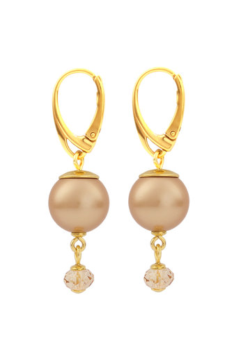 Earrings pearl Swarovski crystal gold-coloured - gold plated sterling silver - ARLIZI 1759 - Claire