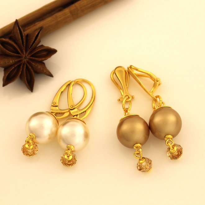 Clip earrings pearl Swarovski crystal gold-coloured - gold plated sterling silver - ARLIZI 1760 - Claire