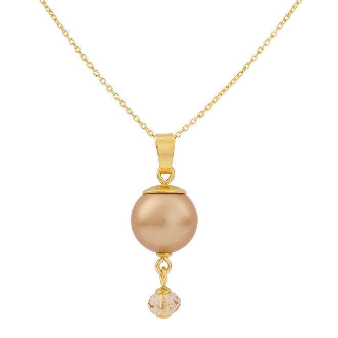 Necklace pearl pendant - silver gold plated - 1761