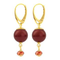 Ohrringe rote Perle Anhänger - Silber vergoldet - 1762