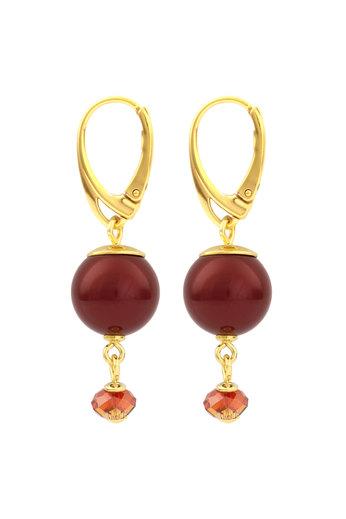Ohrringe rote Perle Swarovski Kristall - Sterling Silber vergoldet - ARLIZI 1762 - Claire