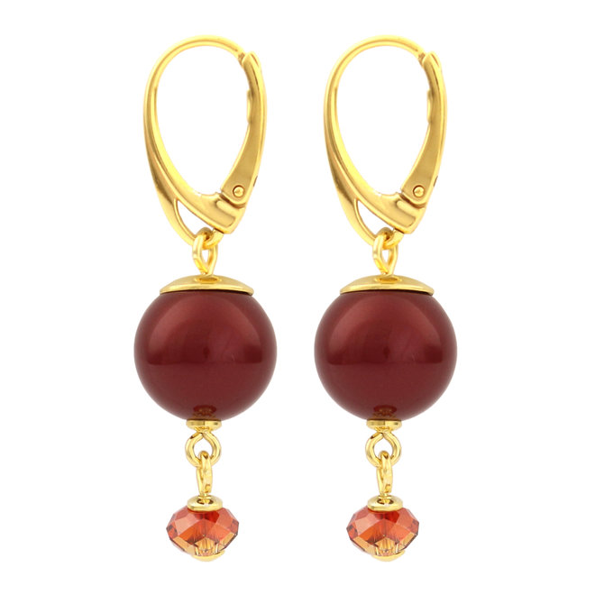 Earrings red pearl pendant - silver gold plated - 1762