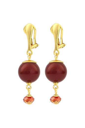 Clip earrings red pearl Swarovski crystal gold-coloured - gold plated sterling silver - ARLIZI 1763 - Claire