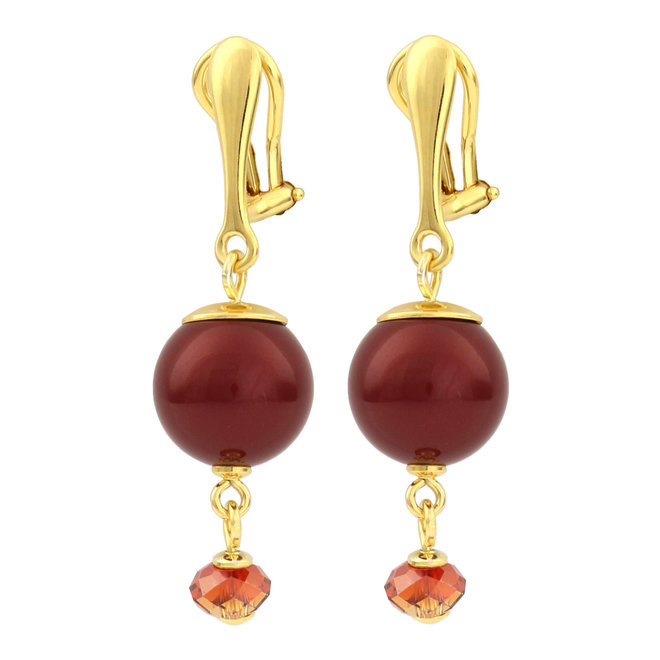 Earrings red pearl ear clips - silver gold plated - 1763