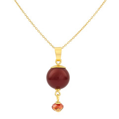 Necklace red pearl pendant - silver gold plated - 1764