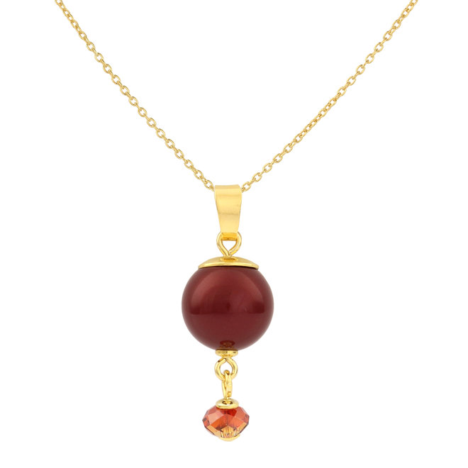 Necklace red pearl Swarovski crystal - gold plated sterling silver - ARLIZI 1764 - Claire