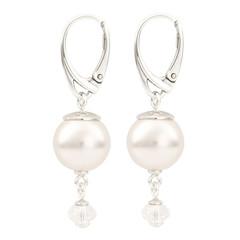 Earrings white pearl pendant - 925 silver - 1765