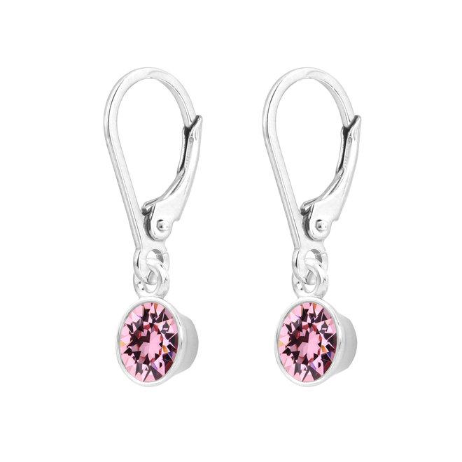 Earrings crystal pendant pink sterling silver - 1780