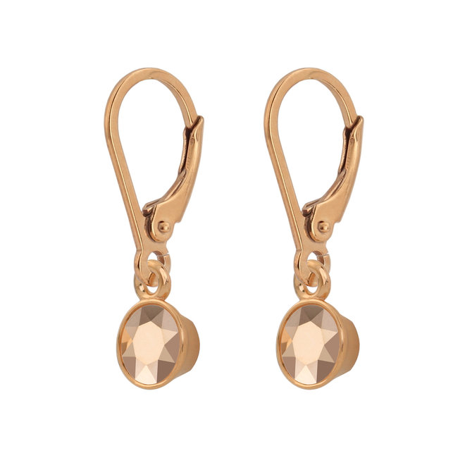 Earrings crystal 925 silver rose gold plated - 1784