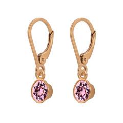 Oorbellen roze kristal 925 zilver roséverguld - 1786