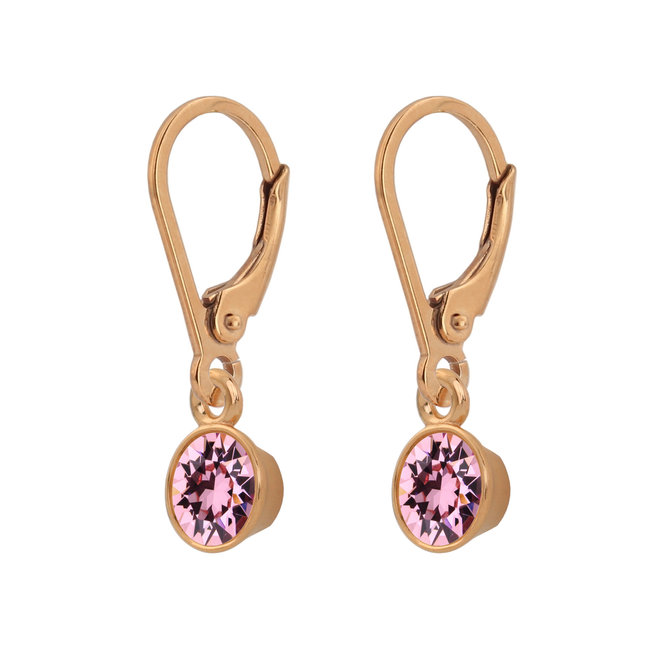 Earrings pink crystal 925 silver rose gold plated - 1786