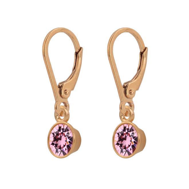 Ohrringe rosa Kristall 925 Silber rosévergoldet - 1786