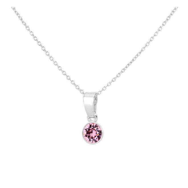 Ketting roze kristal hanger sterling zilver - 1781