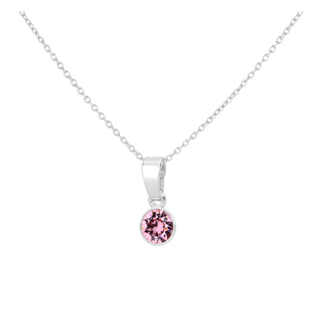Necklace pink crystal pendant sterling silver - 1781
