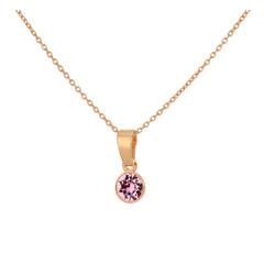 Ketting roze kristal 925 zilver roséverguld - 1787