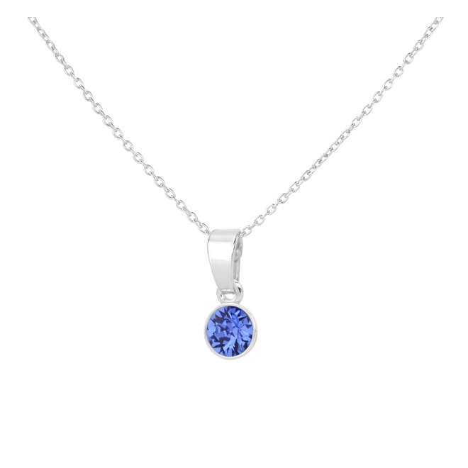 Necklace blue crystal pendant sterling silver - 1783
