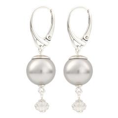 Earrings light grey pearl pendant - 925 silver - 1768