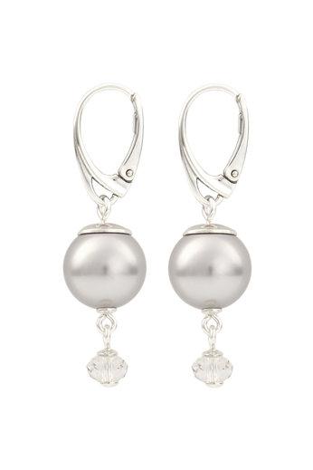 Earrings light grey pearl Swarovski crystal - sterling silver - ARLIZI 1768 - Claire