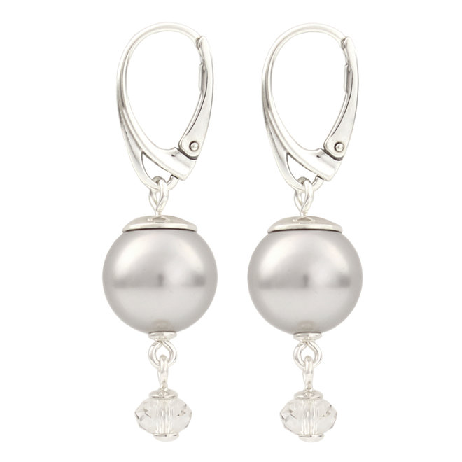 Earrings light grey pearl Swarovski crystal - sterling silver - ARLIZI 1768 - Claire