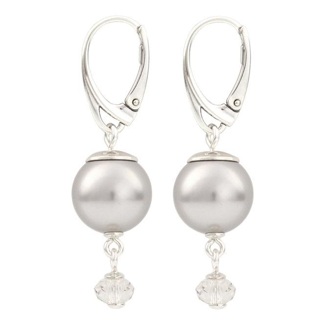 Ohrringe hellgraue Perle Anhänger - 925 Silber - 1768