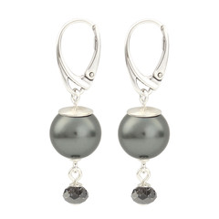 Earrings grey pearl pendant - 925 silver - 1771