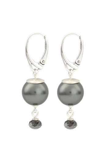 Earrings dark grey pearl Swarovski crystal - sterling silver - ARLIZI 1771 - Claire