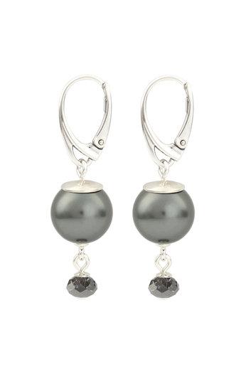 Oorbellen donkergrijze parel Swarovski kristal - sterling zilver - ARLIZI 1771 - Claire