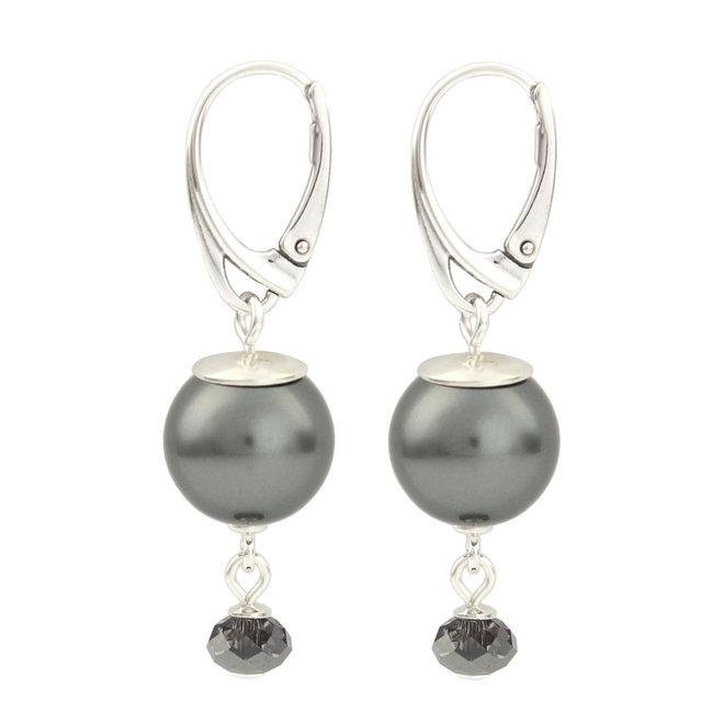 Oorbellen grijze parel hanger - 925 zilver - 1771
