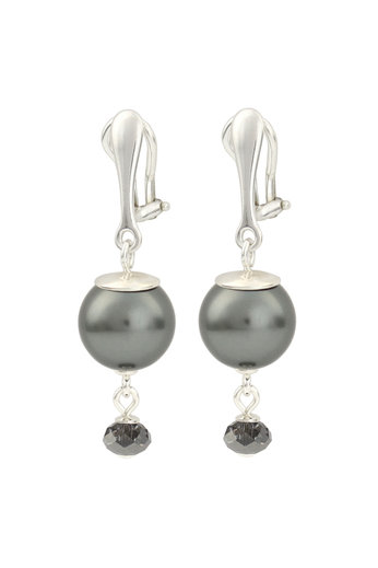 Clip earrings dark grey pearl Swarovski crystal - sterling silver - ARLIZI 1772 - Claire