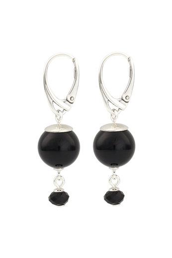 Earrings black pearl Swarovski crystal - sterling silver - ARLIZI 1774 - Claire