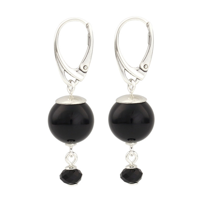Earrings black pearl pendant - 925 silver - 1774