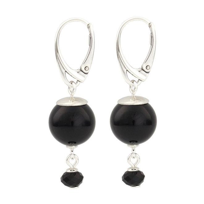 Oorbellen zwarte parel hanger - 925 zilver - 1774