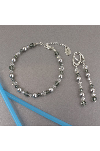 Oorbellen parel Swarovski kristal grijs - sterling zilver - ARLIZI 1735 - Grace
