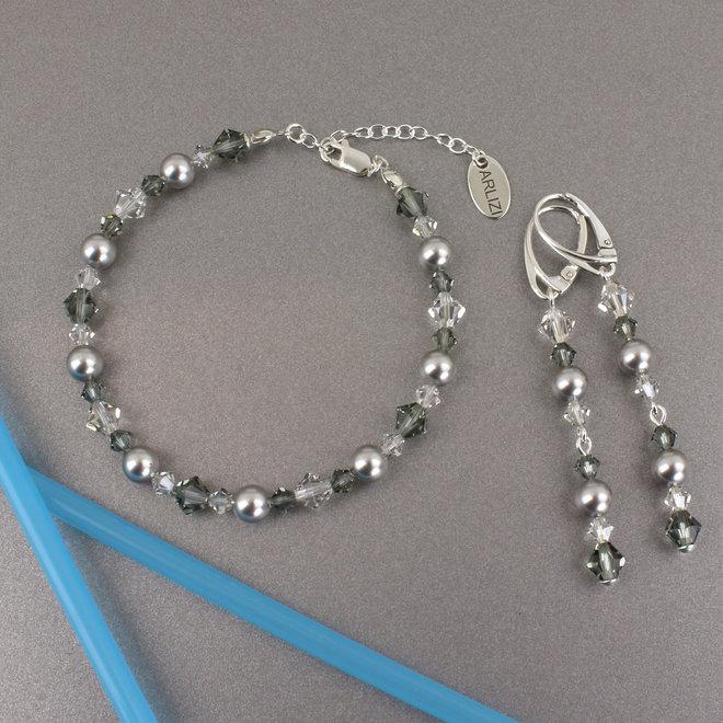 Earrings pearl Swarovski crystal grey - sterling silver - ARLIZI 1735 - Grace