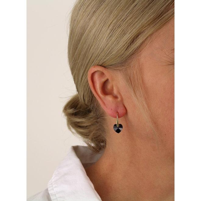 Ohrringe schwarz Swarovski Kristall Herz - Sterling Silber vergoldet - ARLIZI 1038 - Eva