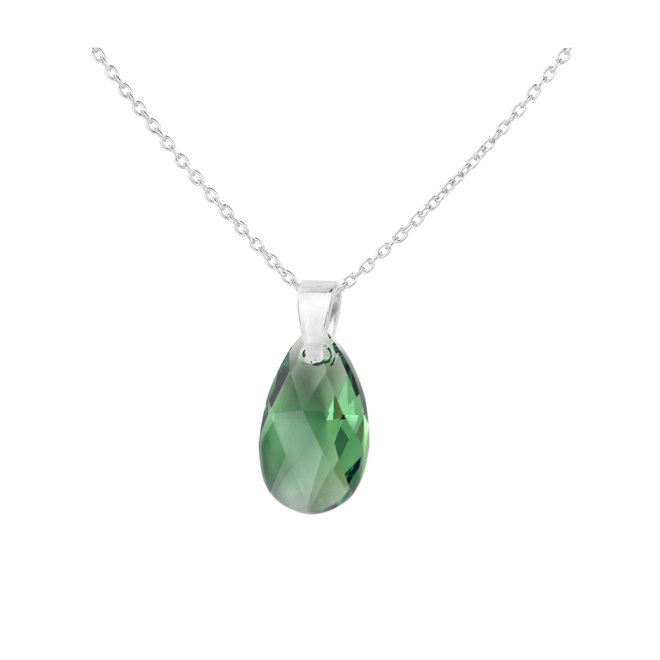 Necklace green Swarovski crystal drop 925 silver - 1788